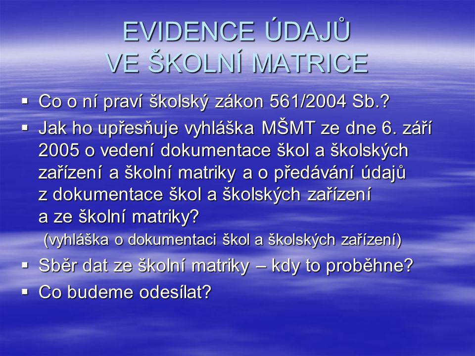  Co o ní praví školský zákon 561/2004 Sb.. Jak ho upřesňuje vyhláška MŠMT ze dne 6.
