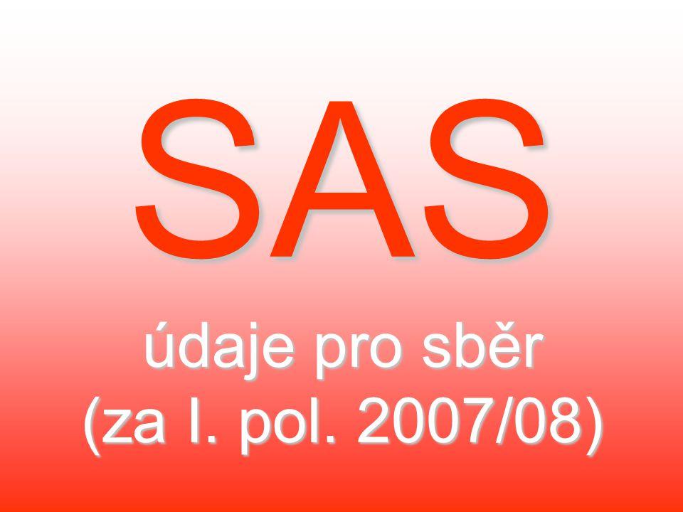 SAS údaje pro sběr (za I. pol. 2007/08)