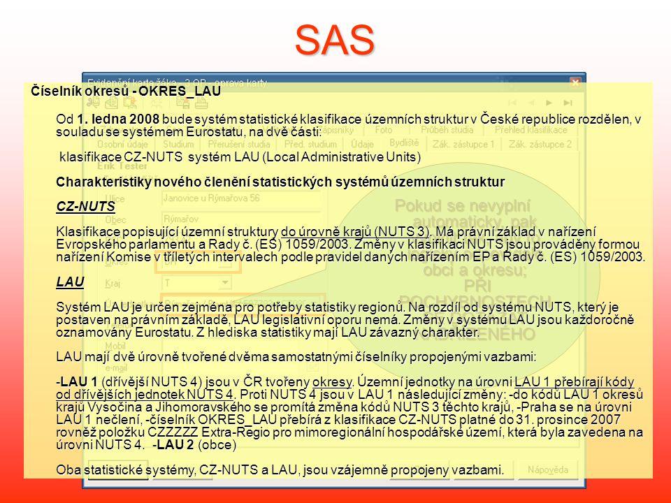 SAS Číselník okresů - OKRES_LAU Od 1.