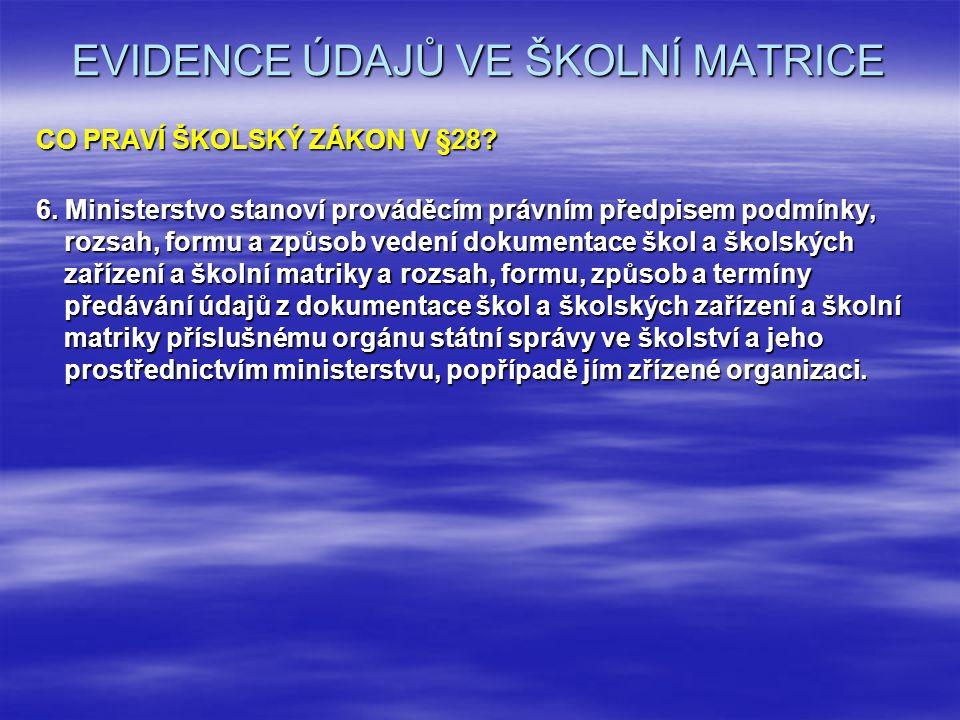EVIDENCE ÚDAJŮ VE ŠKOLNÍ MATRICE CO PRAVÍ ŠKOLSKÝ ZÁKON V §28.