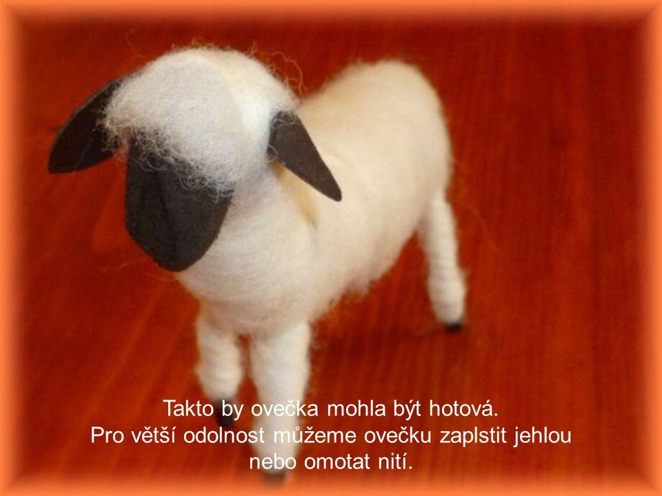 Takto by ovečka mohla být hotová. Pro větší odolnost můžeme ovečku zaplstit jehlou nebo omotat nití.