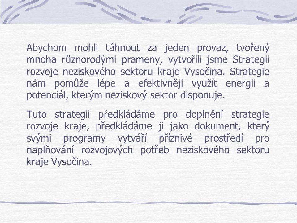 Abychom mohli táhnout za jeden provaz, tvořený mnoha různorodými prameny, vytvořili jsme Strategii rozvoje neziskového sektoru kraje Vysočina. Strateg