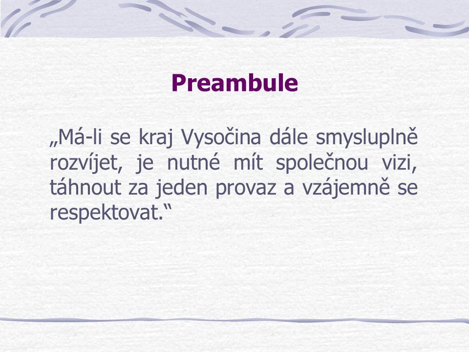 """Preambule """"Má-li se kraj Vysočina dále smysluplně rozvíjet, je nutné mít společnou vizi, táhnout za jeden provaz a vzájemně se respektovat."""