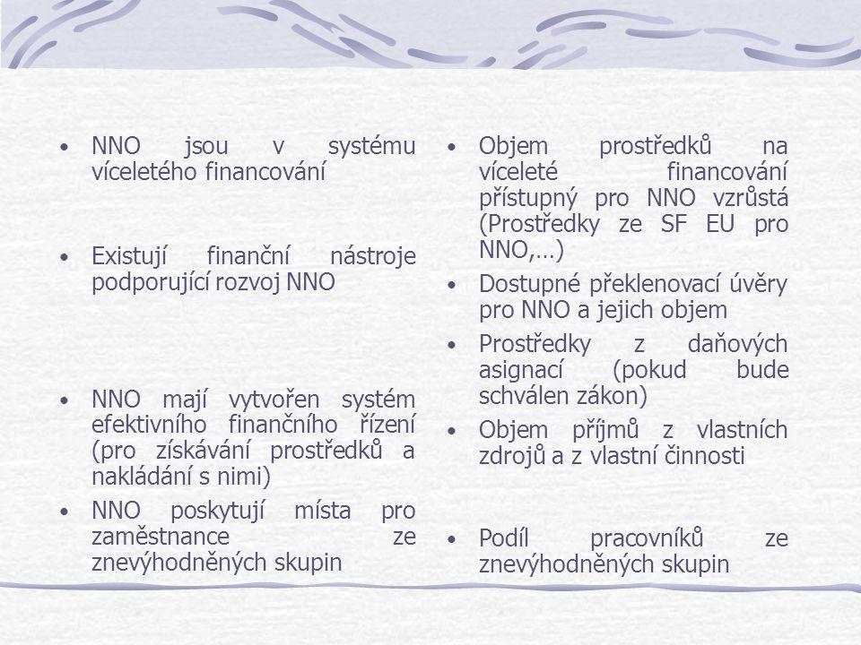 NNO jsou v systému víceletého financování Existují finanční nástroje podporující rozvoj NNO NNO mají vytvořen systém efektivního finančního řízení (pr