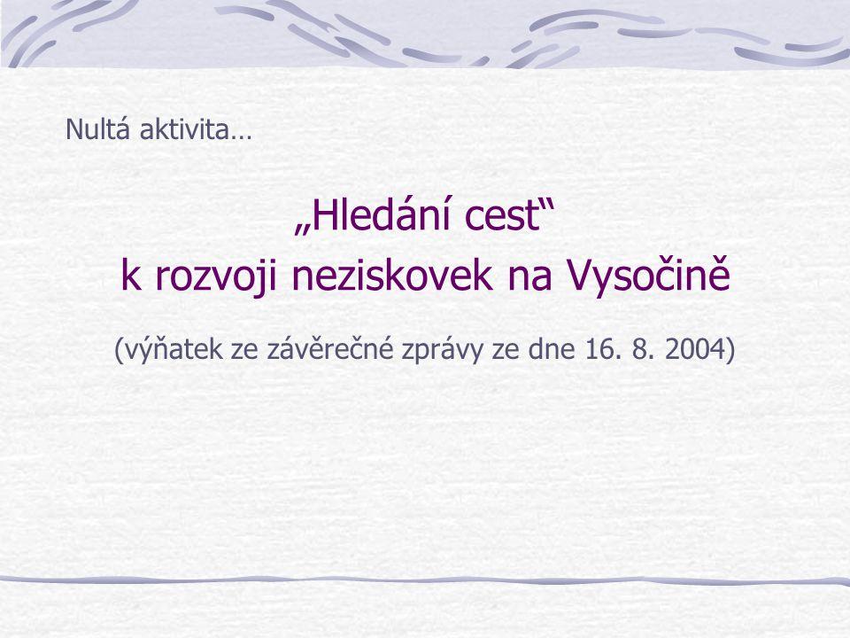 """""""Hledání cest"""" k rozvoji neziskovek na Vysočině Nultá aktivita… (výňatek ze závěrečné zprávy ze dne 16. 8. 2004)"""