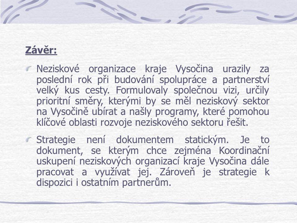 Závěr: Neziskové organizace kraje Vysočina urazily za poslední rok při budování spolupráce a partnerství velký kus cesty. Formulovaly společnou vizi,