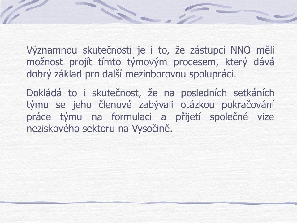 Významnou skutečností je i to, že zástupci NNO měli možnost projít tímto týmovým procesem, který dává dobrý základ pro další mezioborovou spolupráci.