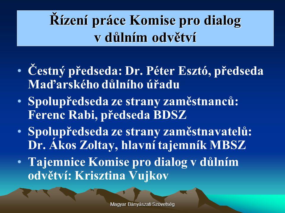 Magyar Bányászati Szövetség Řízení práce Komise pro dialog v důlním odvětví Čestný předseda: Dr. Péter Esztó, předseda Maďarského důlního úřadu Spolup