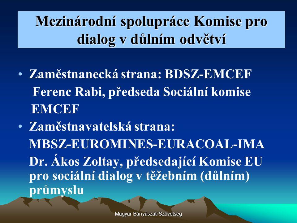 Mezinárodní spolupráce Komise pro dialog v důlním odvětví Zaměstnanecká strana: BDSZ-EMCEF Ferenc Rabi, předseda Sociální komise EMCEF Zaměstnavatelsk