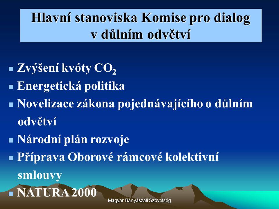 Magyar Bányászati Szövetség Hlavní stanoviska Komise pro dialog v důlním odvětví Zvýšení kvóty CO 2 Energetická politika Novelizace zákona pojednávají