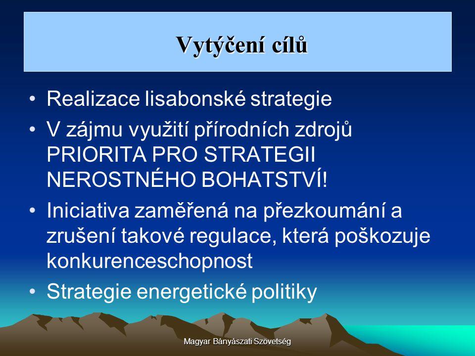 Magyar Bányászati Szövetség Realizace lisabonské strategie V zájmu využití přírodních zdrojů PRIORITA PRO STRATEGII NEROSTNÉHO BOHATSTVÍ! Iniciativa z
