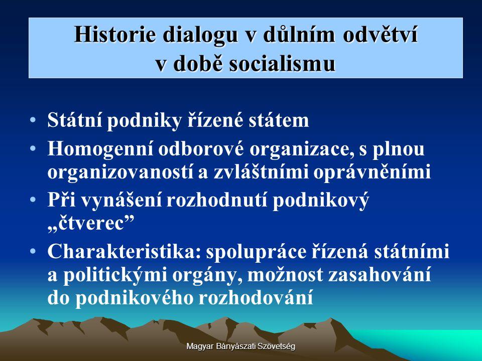 Historie dialogu v důlním odvětví v době socialismu Státní podniky řízené státem Homogenní odborové organizace, s plnou organizovaností a zvláštními o