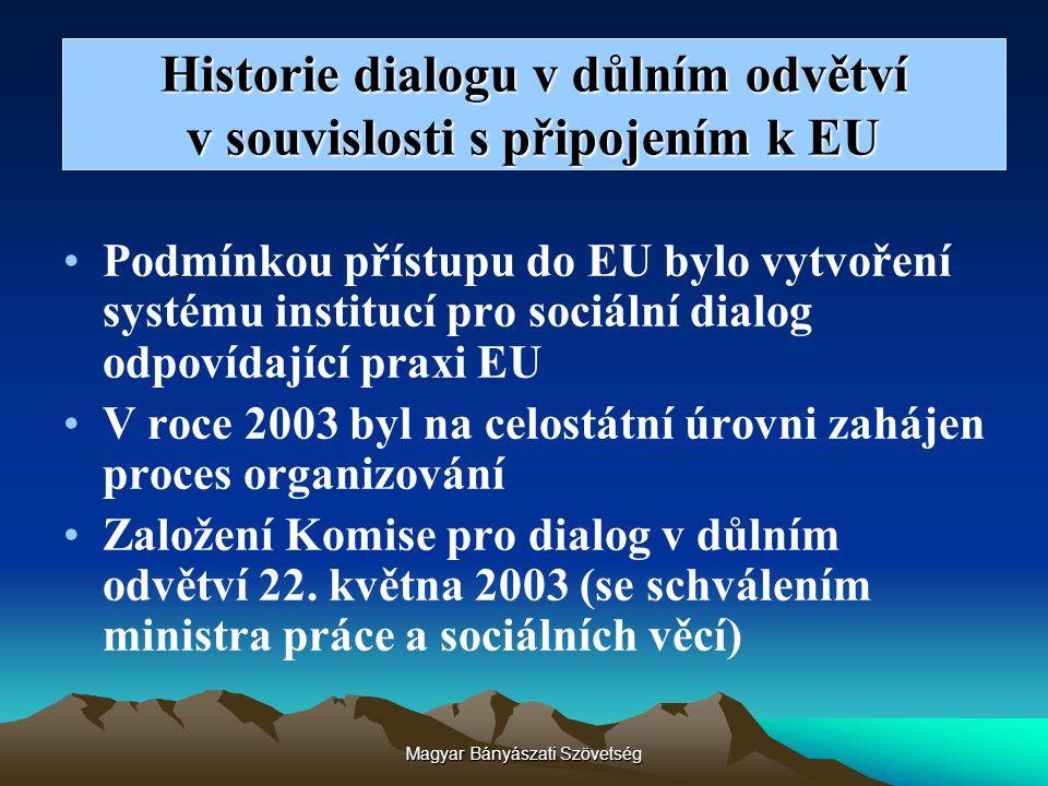 Historie dialogu v důlním odvětví v souvislosti s připojením k EU Podmínkou přístupu do EU bylo vytvoření systému institucí pro sociální dialog odpoví