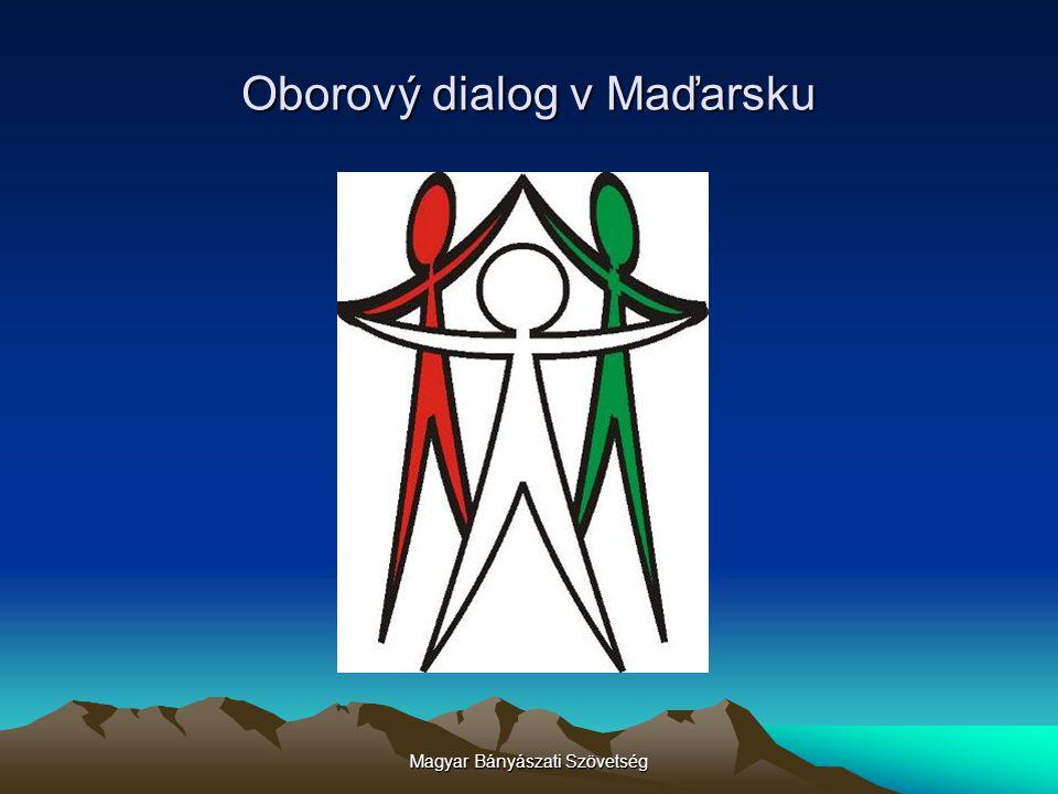 Magyar Bányászati Szövetség Fóra sociálního dialogu v maďarském hospodářství Celostátní koordinační rada Komise oborového dialogu (31 odvětví, pododvětví, odborných odvětví) Práci komisí oborového dialogu koordinuje Odborný koordinační sbor, v zastoupení po 2 osobách ze strany samospráv-zaměstnanců- zaměstnavatelů (jednatel zaměstnavatele: ZÁ.) Příprava zákona za účelem regulace činnosti koordinačních fór