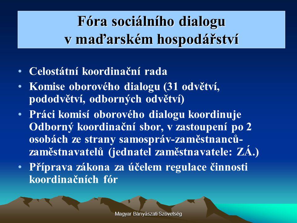 Magyar Bányászati Szövetség Fóra sociálního dialogu v maďarském hospodářství Celostátní koordinační rada Komise oborového dialogu (31 odvětví, pododvě