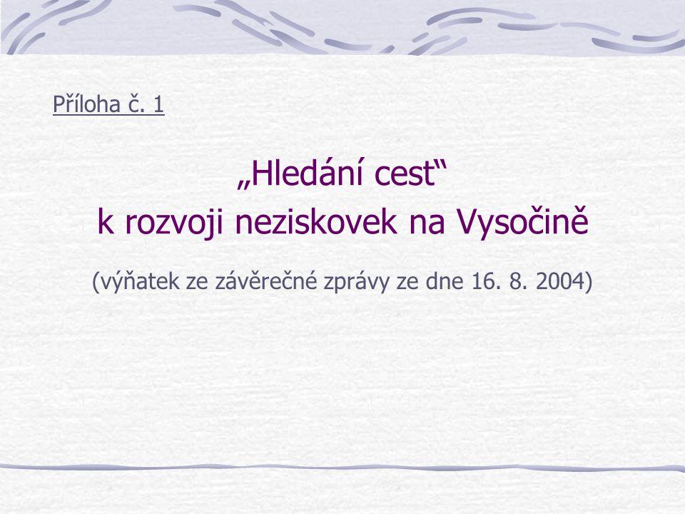 """""""Hledání cest k rozvoji neziskovek na Vysočině Příloha č."""