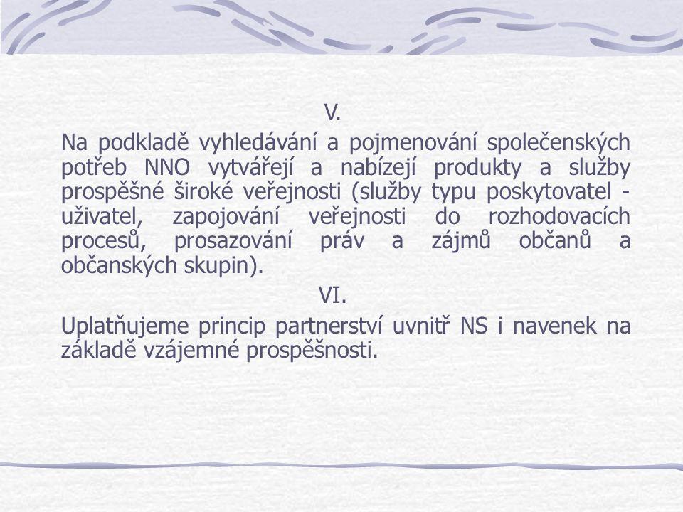 V. Na podkladě vyhledávání a pojmenování společenských potřeb NNO vytvářejí a nabízejí produkty a služby prospěšné široké veřejnosti (služby typu posk