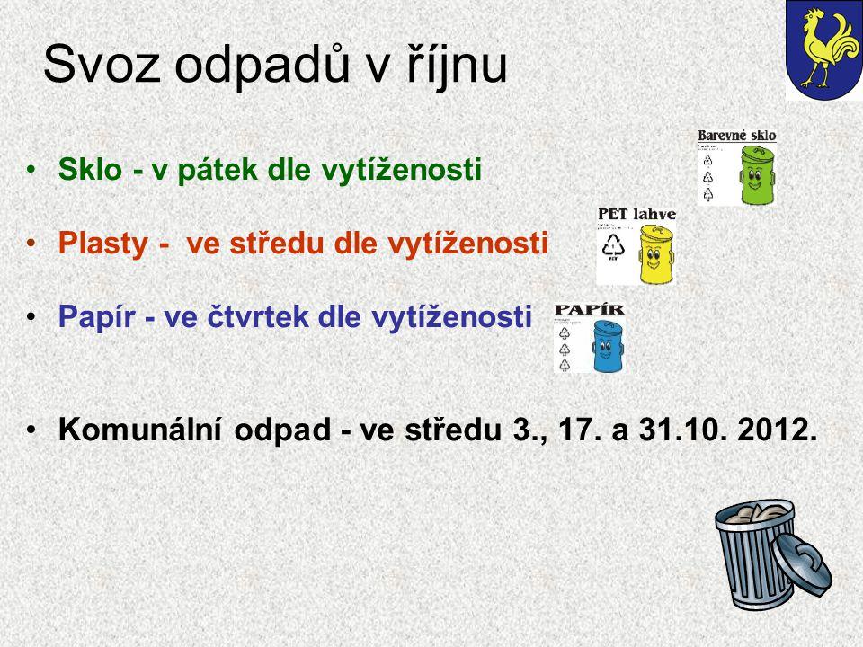 Svoz odpadů v říjnu Sklo - v pátek dle vytíženosti Plasty - ve středu dle vytíženosti Papír - ve čtvrtek dle vytíženosti Komunální odpad - ve středu 3., 17.