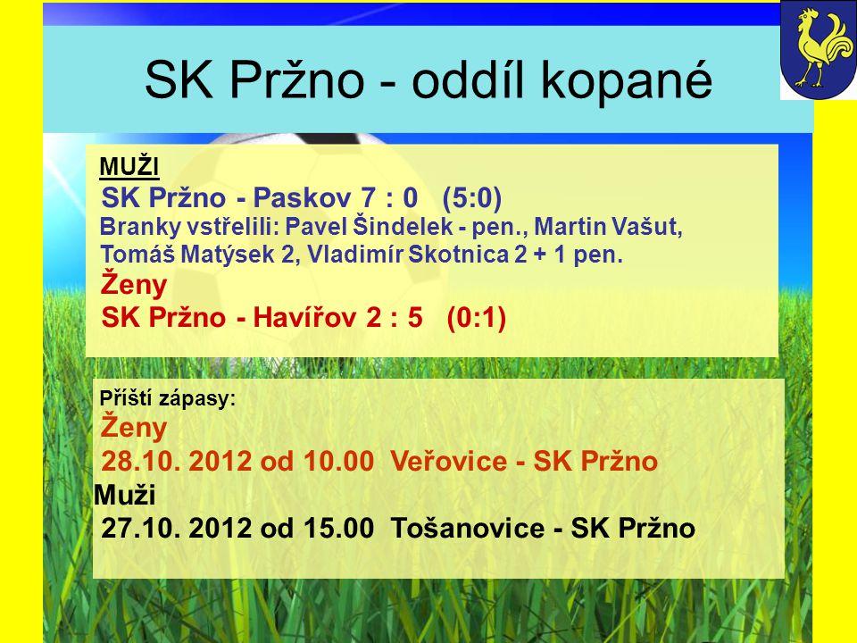 SK Pržno - oddíl kopané Příští zápasy: Ženy 28.10.
