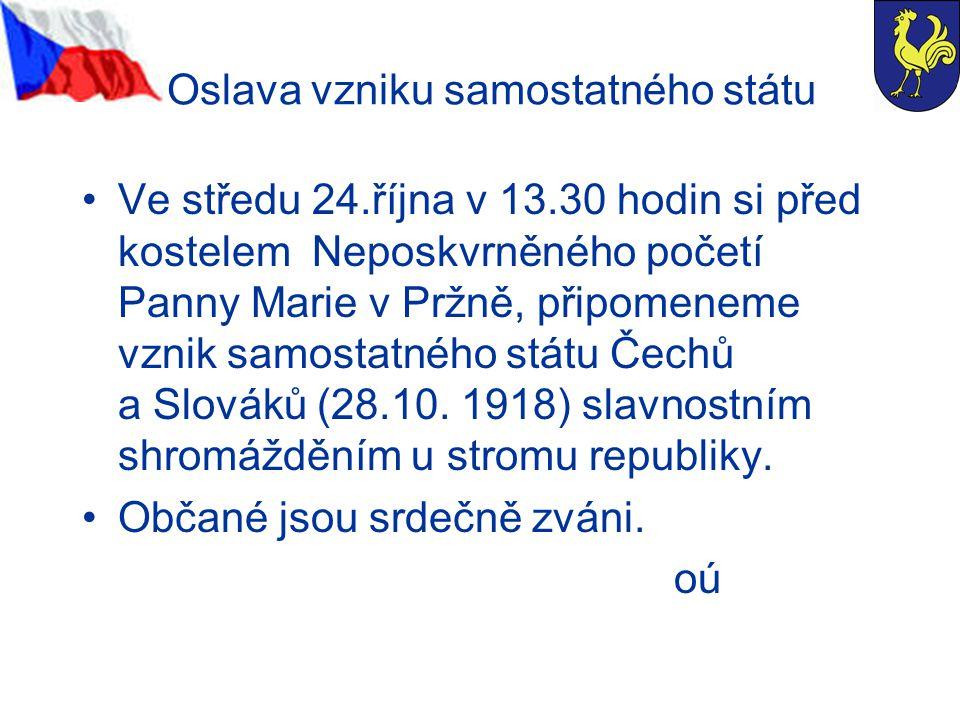 Oslava vzniku samostatného státu Ve středu 24.října v 13.30 hodin si před kostelem Neposkvrněného početí Panny Marie v Pržně, připomeneme vznik samostatného státu Čechů a Slováků (28.10.