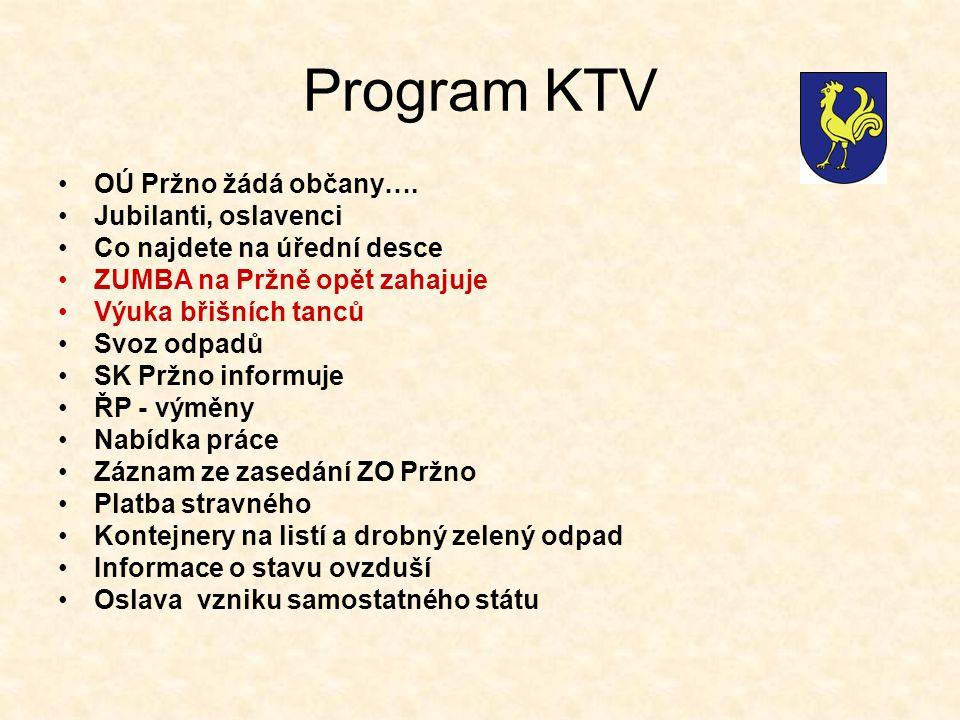 Program KTV OÚ Pržno žádá občany….