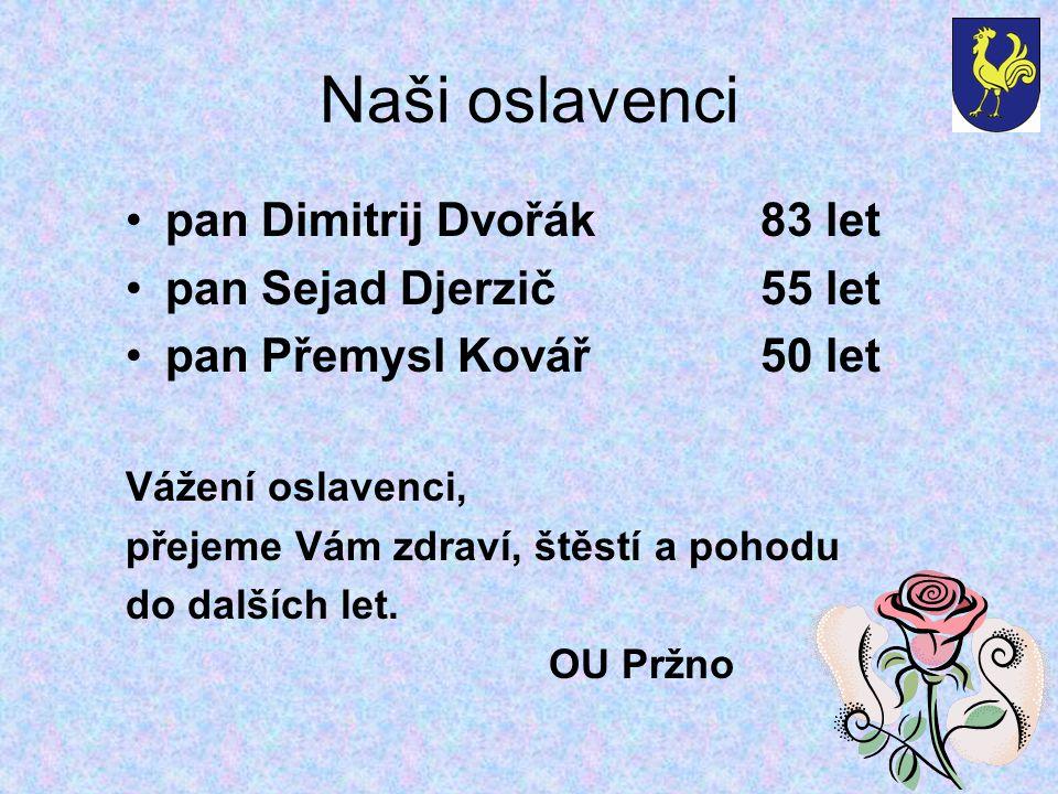 Naši oslavenci pan Dimitrij Dvořák83 let pan Sejad Djerzič55 let pan Přemysl Kovář50 let Vážení oslavenci, přejeme Vám zdraví, štěstí a pohodu do dalších let.