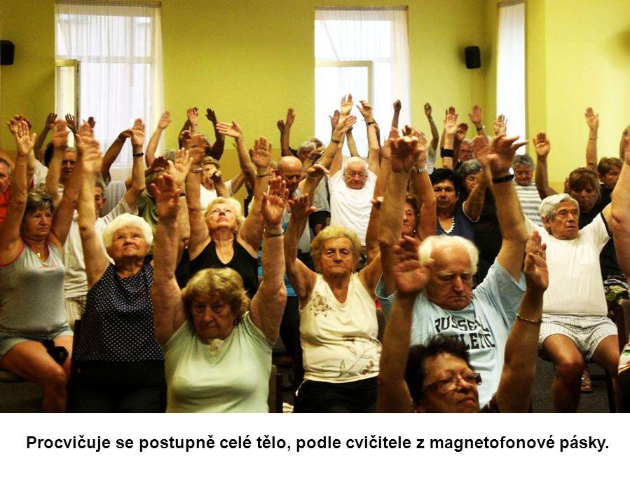 Cvičí se na židlích, cvičení je určeno pacientům s problémy s pohybovým ústrojím.
