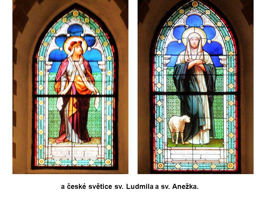 Na oknech je zpodobněna sv. Barbora a modlící se havíř