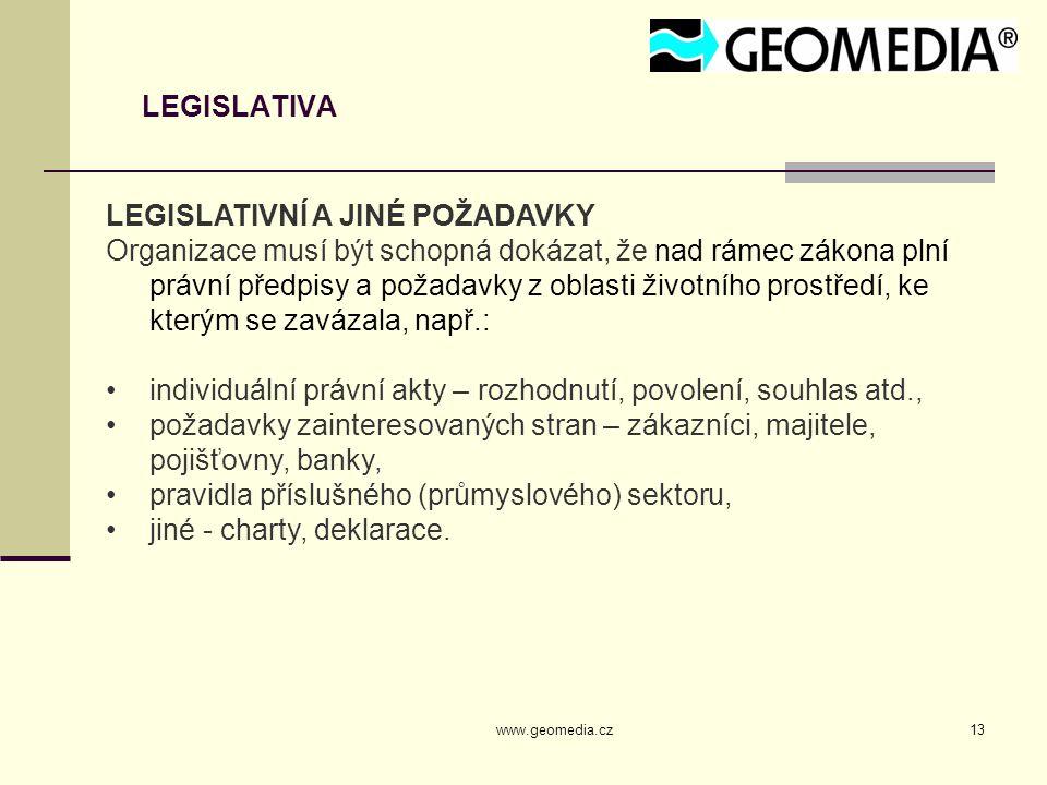 www.geomedia.cz13 LEGISLATIVA LEGISLATIVNÍ A JINÉ POŽADAVKY Organizace musí být schopná dokázat, že nad rámec zákona plní právní předpisy a požadavky z oblasti životního prostředí, ke kterým se zavázala, např.: individuální právní akty – rozhodnutí, povolení, souhlas atd., požadavky zainteresovaných stran – zákazníci, majitele, pojišťovny, banky, pravidla příslušného (průmyslového) sektoru, jiné - charty, deklarace.