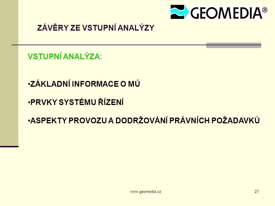 www.geomedia.cz27 ZÁVĚRY ZE VSTUPNÍ ANALÝZY VSTUPNÍ ANALÝZA: ZÁKLADNÍ INFORMACE O MÚ PRVKY SYSTÉMU ŘÍZENÍ ASPEKTY PROVOZU A DODRŽOVÁNÍ PRÁVNÍCH POŽADAVKŮ