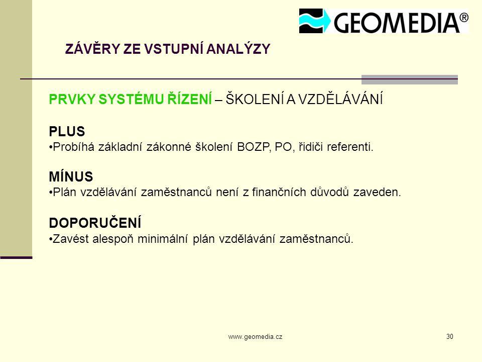 www.geomedia.cz30 ZÁVĚRY ZE VSTUPNÍ ANALÝZY PRVKY SYSTÉMU ŘÍZENÍ – ŠKOLENÍ A VZDĚLÁVÁNÍ PLUS Probíhá základní zákonné školení BOZP, PO, řidiči referenti.