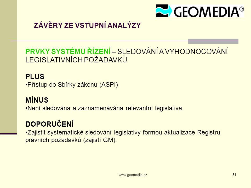 www.geomedia.cz31 ZÁVĚRY ZE VSTUPNÍ ANALÝZY PRVKY SYSTÉMU ŘÍZENÍ – SLEDOVÁNÍ A VYHODNOCOVÁNÍ LEGISLATIVNÍCH POŽADAVKŮ PLUS Přístup do Sbírky zákonů (ASPI) MÍNUS Není sledována a zaznamenávána relevantní legislativa.