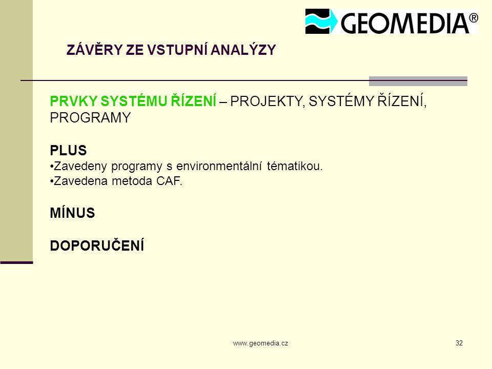 www.geomedia.cz32 ZÁVĚRY ZE VSTUPNÍ ANALÝZY PRVKY SYSTÉMU ŘÍZENÍ – PROJEKTY, SYSTÉMY ŘÍZENÍ, PROGRAMY PLUS Zavedeny programy s environmentální tématikou.