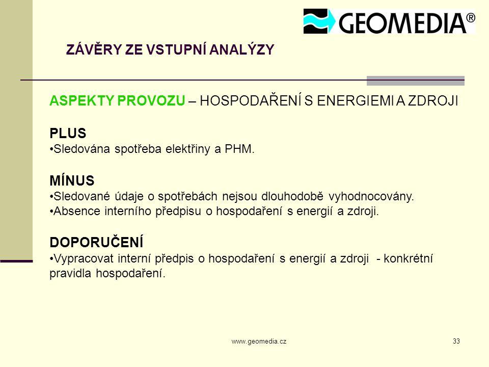 www.geomedia.cz33 ZÁVĚRY ZE VSTUPNÍ ANALÝZY ASPEKTY PROVOZU – HOSPODAŘENÍ S ENERGIEMI A ZDROJI PLUS Sledována spotřeba elektřiny a PHM.