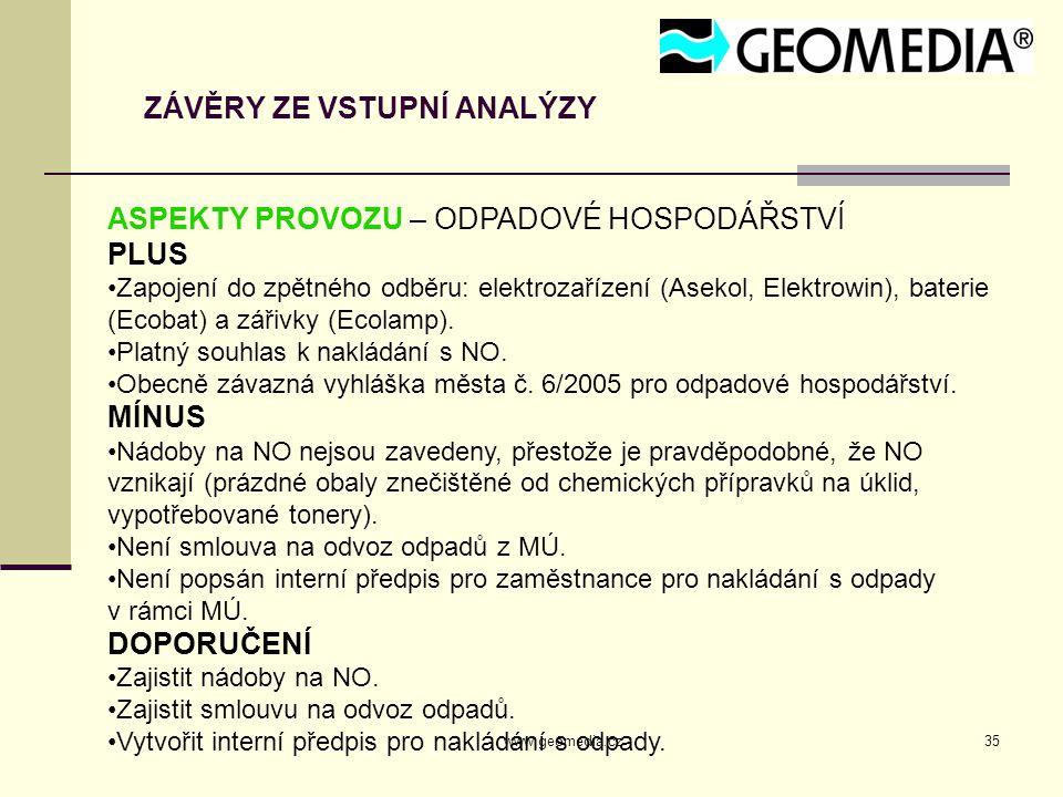 www.geomedia.cz35 ZÁVĚRY ZE VSTUPNÍ ANALÝZY ASPEKTY PROVOZU – ODPADOVÉ HOSPODÁŘSTVÍ PLUS Zapojení do zpětného odběru: elektrozařízení (Asekol, Elektrowin), baterie (Ecobat) a zářivky (Ecolamp).