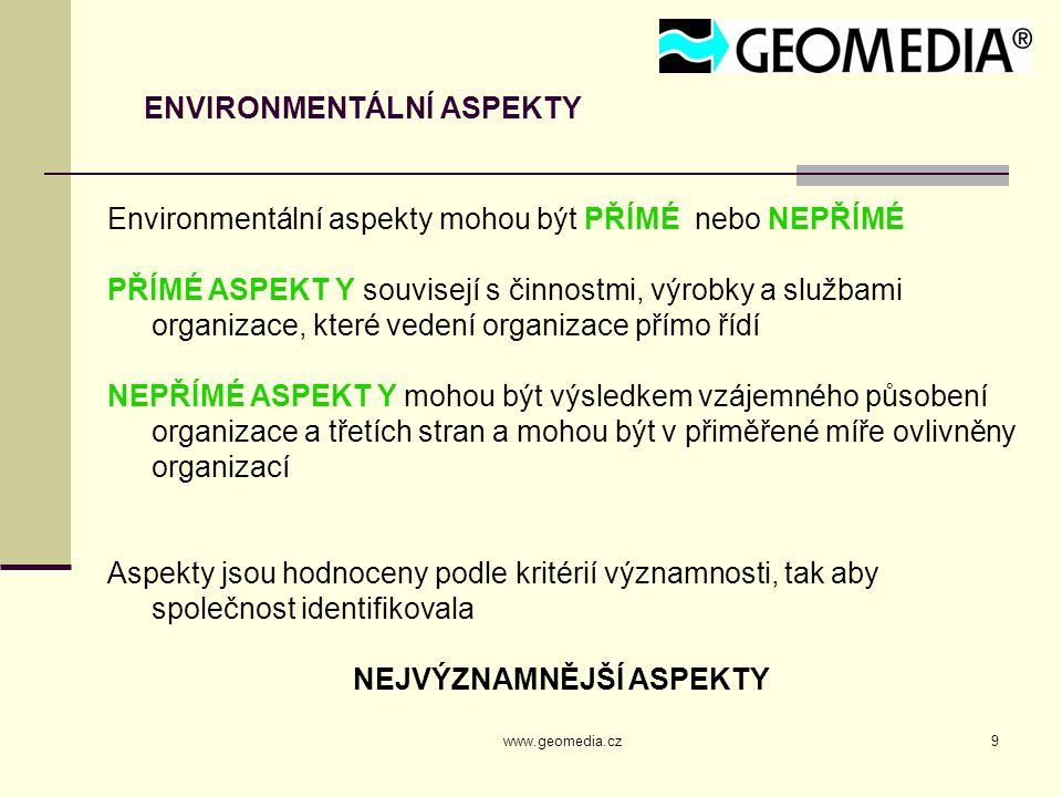www.geomedia.cz9 ENVIRONMENTÁLNÍ ASPEKTY Environmentální aspekty mohou být PŘÍMÉ nebo NEPŘÍMÉ PŘÍMÉ ASPEKT Y souvisejí s činnostmi, výrobky a službami organizace, které vedení organizace přímo řídí NEPŘÍMÉ ASPEKT Y mohou být výsledkem vzájemného působení organizace a třetích stran a mohou být v přiměřené míře ovlivněny organizací Aspekty jsou hodnoceny podle kritérií významnosti, tak aby společnost identifikovala NEJVÝZNAMNĚJŠÍ ASPEKTY