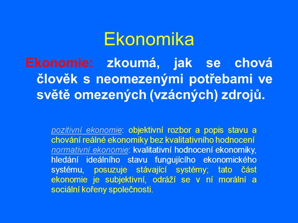 Ekonomika Ekonomie: zkoumá, jak se chová člověk s neomezenými potřebami ve světě omezených (vzácných) zdrojů. pozitivní ekonomiepozitivní ekonomie: ob