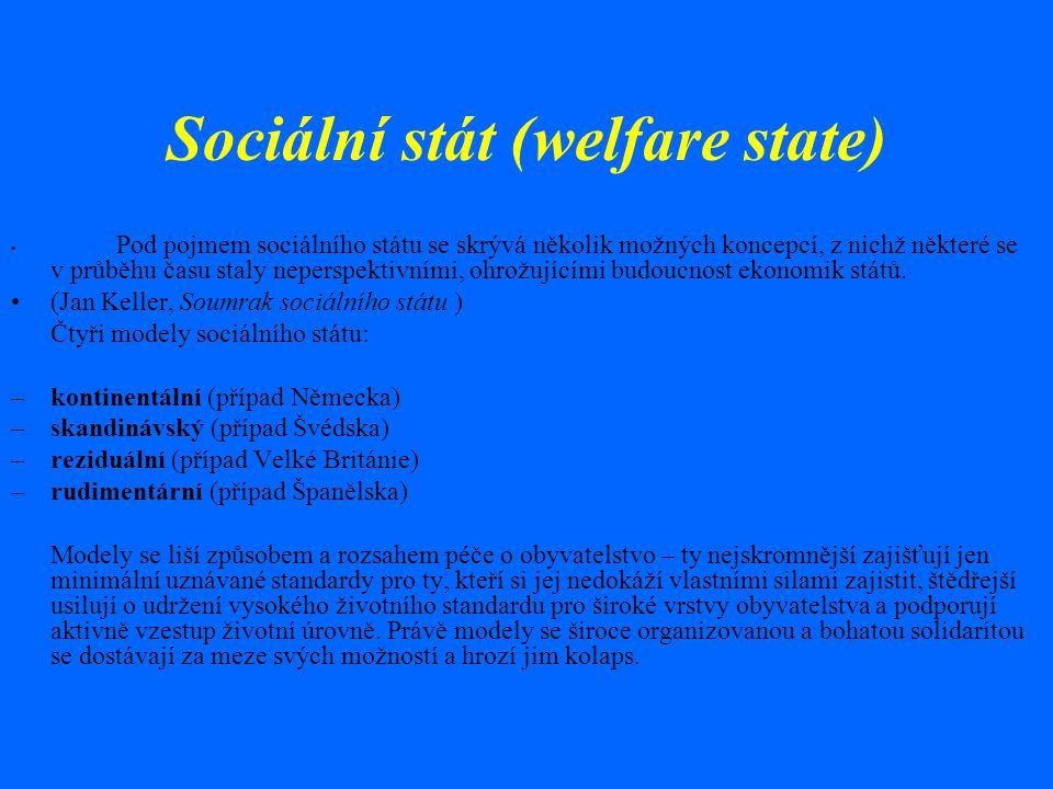 Sociální stát (welfare state) Pod pojmem sociálního státu se skrývá několik možných koncepcí, z nichž některé se v průběhu času staly neperspektivními