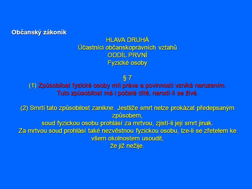 Občanský zákoník HLAVA DRUHÁ Účastníci občanskoprávních vztahů ODDÍL PRVNÍ Fyzické osoby § 7 (1) Způsobilost fyzické osoby mít práva a povinnosti vzni
