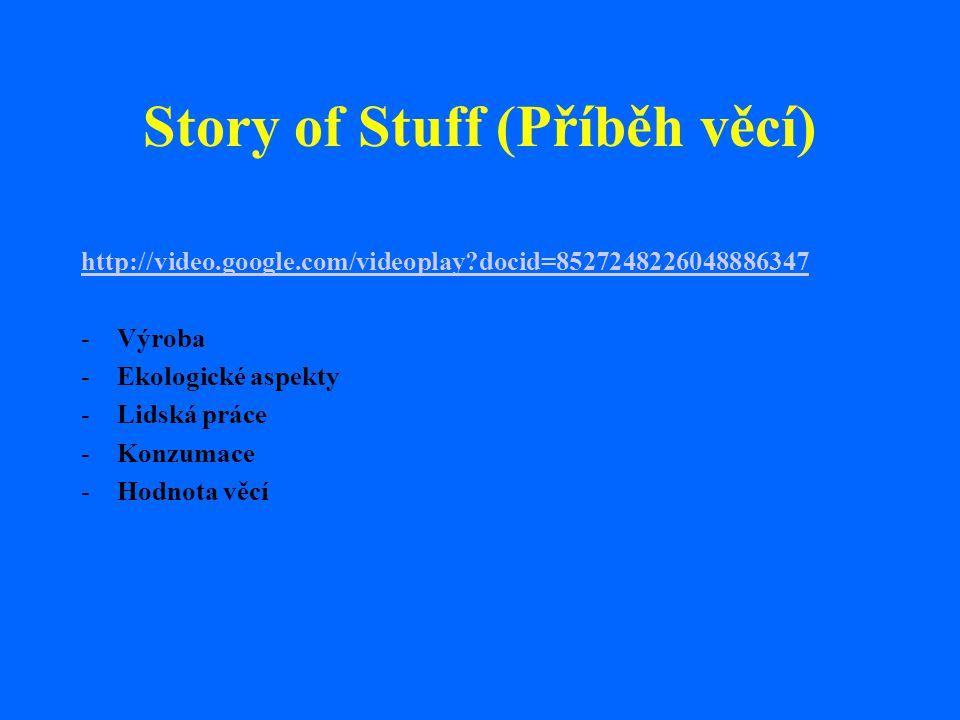 Story of Stuff (Příběh věcí) http://video.google.com/videoplay?docid=8527248226048886347 -Výroba -Ekologické aspekty -Lidská práce -Konzumace -Hodnota
