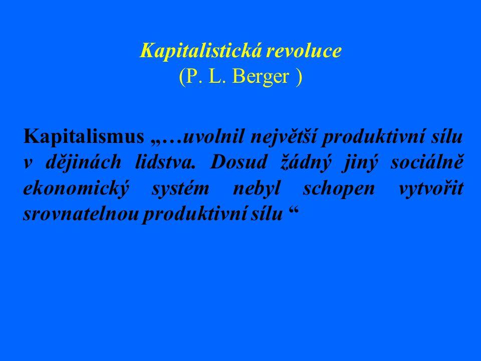 """Kapitalistická revoluce (P. L. Berger ) Kapitalismus """"…uvolnil největší produktivní sílu v dějinách lidstva. Dosud žádný jiný sociálně ekonomický syst"""