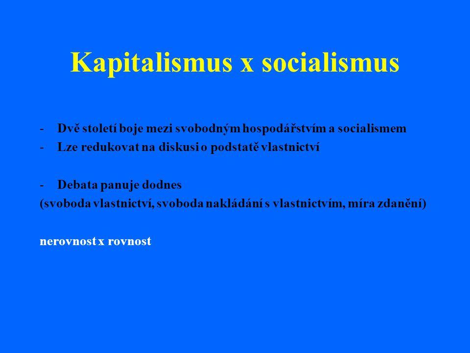 Kapitalismus x socialismus -Dvě století boje mezi svobodným hospodářstvím a socialismem -Lze redukovat na diskusi o podstatě vlastnictví -Debata panuj