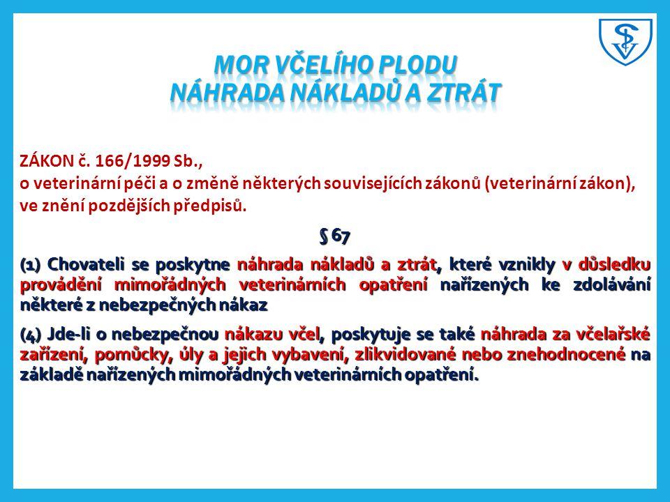 ZÁKON č. 166/1999 Sb., o veterinární péči a o změně některých souvisejících zákonů (veterinární zákon), ve znění pozdějších předpisů. § 67 (1) Chovate