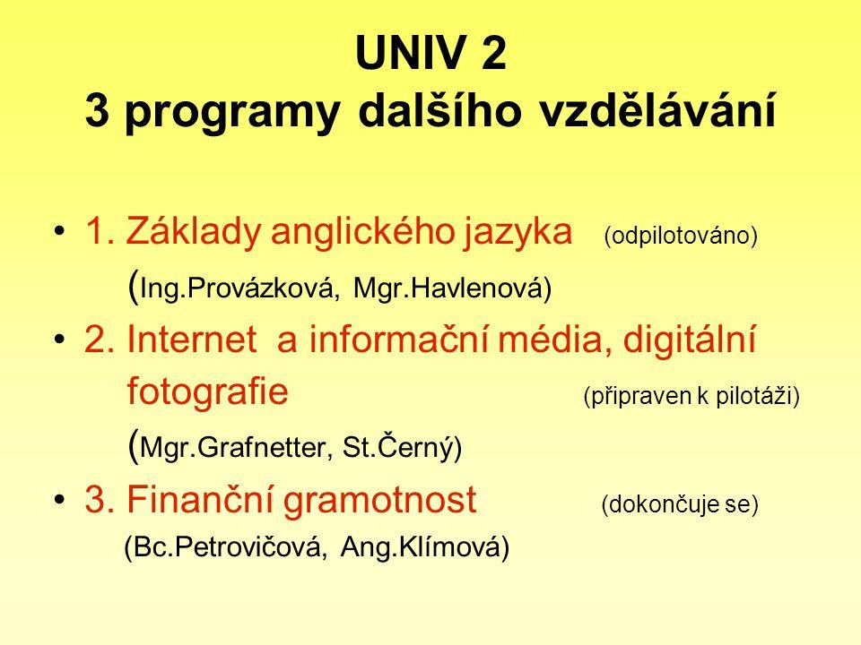 UNIV 2 3 programy dalšího vzdělávání 1. Základy anglického jazyka (odpilotováno) ( Ing.Provázková, Mgr.Havlenová) 2. Internet a informační média, digi