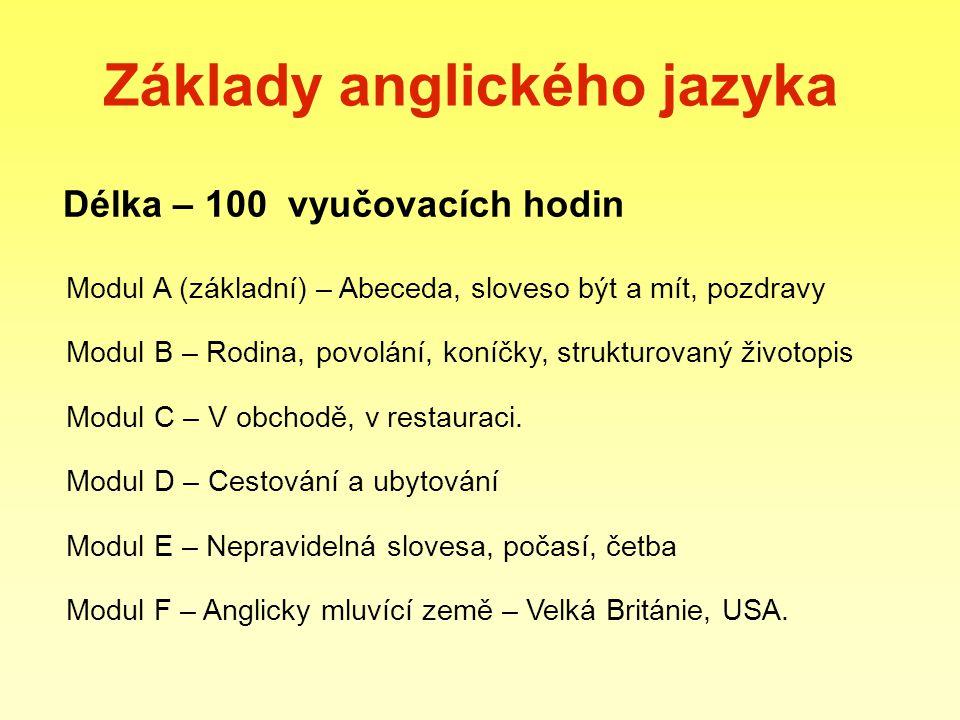 Základy anglického jazyka Délka – 100 vyučovacích hodin Modul A (základní) – Abeceda, sloveso být a mít, pozdravy Modul B – Rodina, povolání, koníčky,