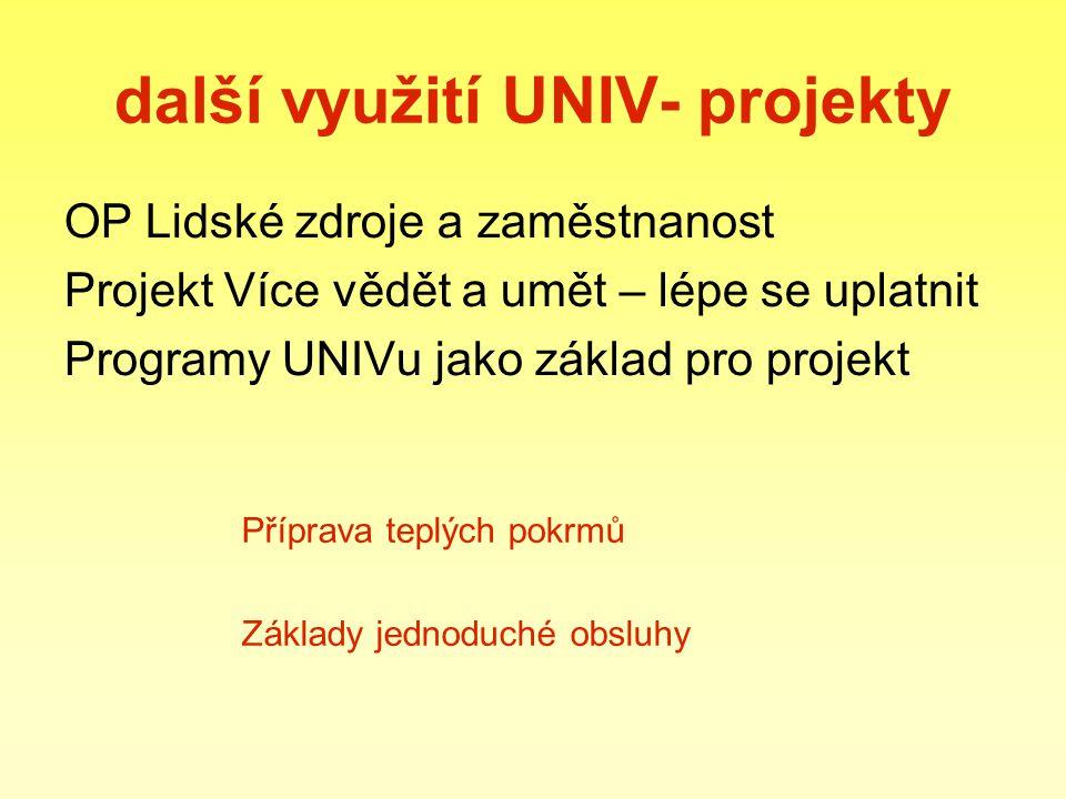 další využití UNIV- projekty OP Lidské zdroje a zaměstnanost Projekt Více vědět a umět – lépe se uplatnit Programy UNIVu jako základ pro projekt Příprava teplých pokrmů Základy jednoduché obsluhy