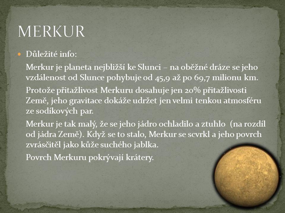 Důležité info: Merkur je planeta nejbližší ke Slunci – na oběžné dráze se jeho vzdálenost od Slunce pohybuje od 45,9 až po 69,7 milionu km.