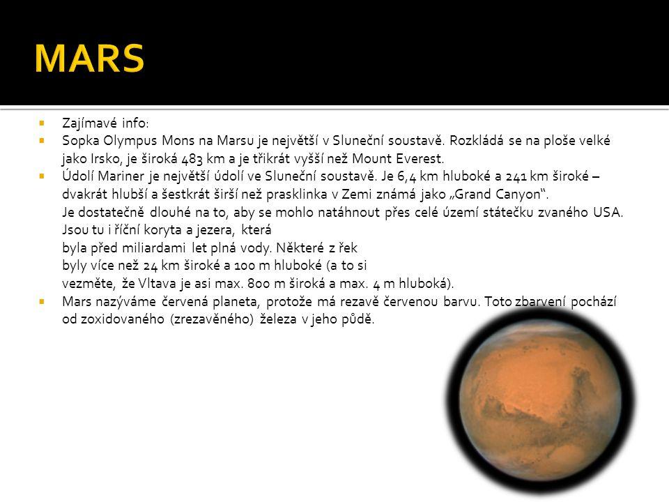  Zajímavé info:  Sopka Olympus Mons na Marsu je největší v Sluneční soustavě.