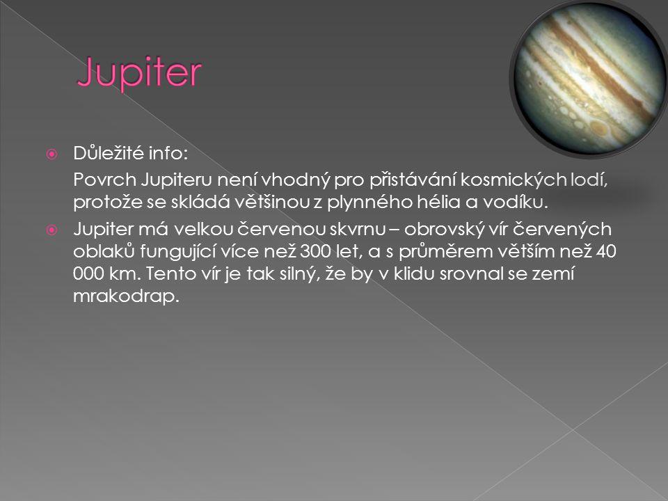  Důležité info: Povrch Jupiteru není vhodný pro přistávání kosmických lodí, protože se skládá většinou z plynného hélia a vodíku.
