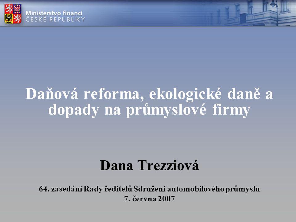 Daňová reforma, ekologické daně a dopady na průmyslové firmy Dana Trezziová 64. zasedání Rady ředitelů Sdružení automobilového průmyslu 7. června 2007